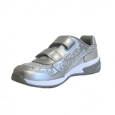 Clarks Girls Piper Play Silver Leather Lights Trainers  UK SIZE 12 H
