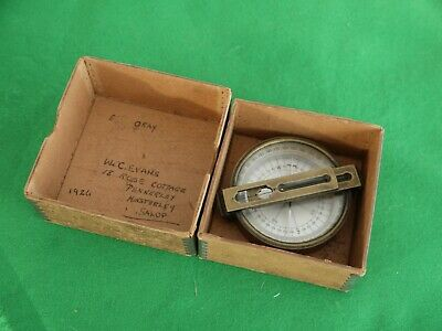 Superb 1926 Working Boxed Antique Solid Brass Precision Desk Top Compass