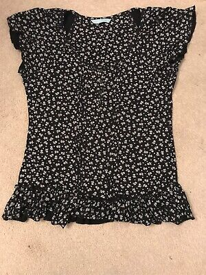 Sainsburys TU Ladies Petite Black Floral Frilled Top Size 14