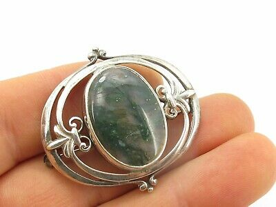 Vintage Sterling Silver & Moss Agate Arts & Crafts Brooch Pin 925