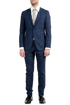 "Hugo Boss ""T-Royston/Wain1"" Men's Wool Stretch Extra Slim Blue Two Button Suit"