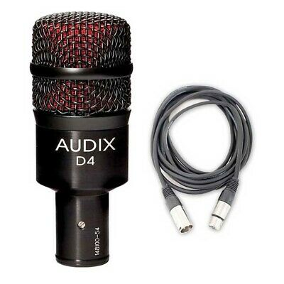 Audix D4 Kick/Bass Drum Microphone w/ 20ft XLR Cable NEW