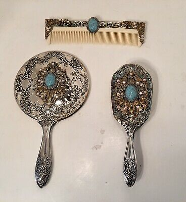Vintage Style Silver Jeweled Vanity Set Hand Mirror Brush & Comb Turquoise Stone