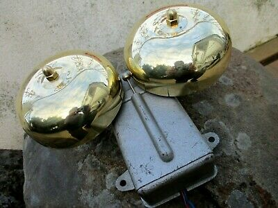 Vintage Electric 220 V Industrial Double Nice Brass Bell Ring Fire Alarm School