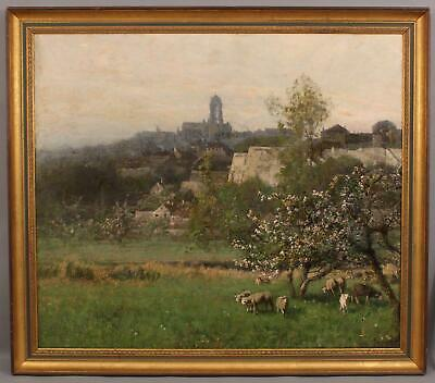 Antique Netherlands Barbizon Sheep Apple Blossom Landscape Oil Painting NR