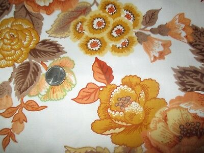 RETRO Vintage YELLOW BROWN FLOWERS On CREAM 1970's Heavy COTTON Fabric-over 5 yd