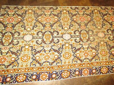 Vintage PINK CREAM BROWN FLOWERS On BROWN 1960's Border COTTON Fabric-over 2 yd