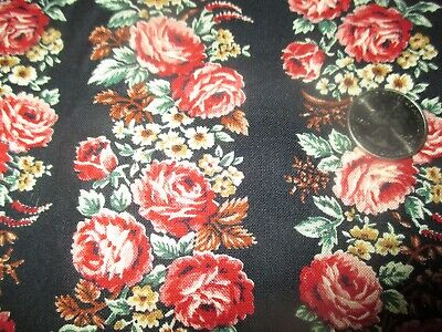 SWEET Vintage PINK FLOWERS In STRIPES On BLACK 1980's COTTON Fabric-over 2 yd