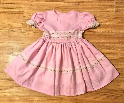 Vintage Baby Girl Toddler Easter Dress Fancy Pink Flowers & White Lace 4T 5T
