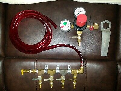 Co2 Taprite Regulator Four Way Beer Gas Manifold Dual Gauges Draft Beer Systems