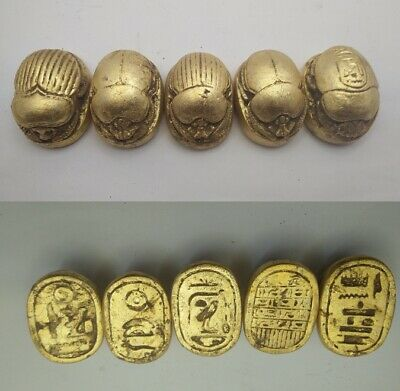 5 RARE ANCIENT EGYPTIAN ANTIQUE SCARAB Blank Stone 1231-1105 BC (4)