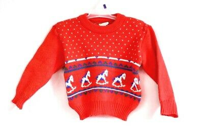 VTG 60s Kids Sweater Red Rocking Horse Acrylic MAde in Japan 3T Yellow Bird