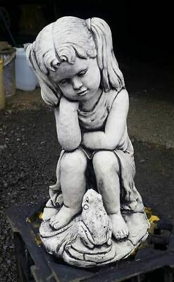 Girl With Frog Concrete Outdoor Garden Statue Ornament
