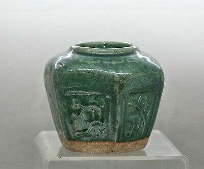 Early Chinese Green Crackle Drip Glaze Ceramic Pickle Jar/Pot Circa 1820s