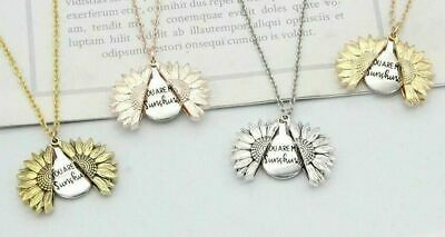 "Sunflower ""You Are My Sunshine"" Open Locket Pendant Necklace Jewelry Gift"