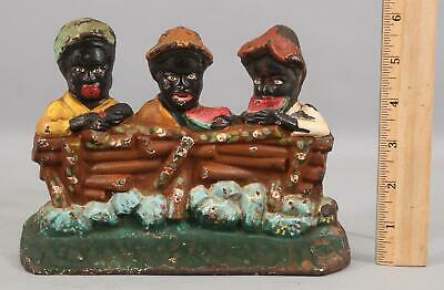 Antique 1930s Black Americana Boys Eating Watermelon Fence Cast Iron Doorstop NR