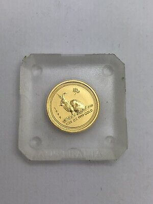 1999 Australia 1/20th Oz 9999 Pure Gold $5 Coin Year of the Rabbit BU Mint