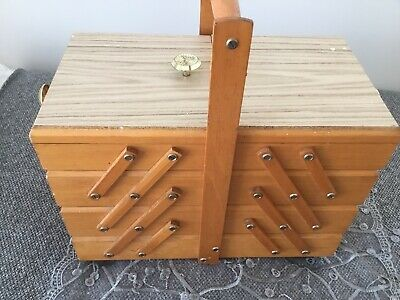 Sewing Box Wooden Vintage Retro 4 Tier Cantilever Folding Pick Up Only Geelong