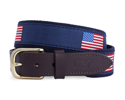 Vineyard Vines Boys American Flag FLAGS Canvas NAVY Club Belt Size 30 NWT