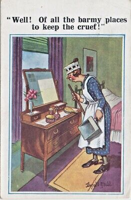 """Donald McGill comic postcard Comique 5427 """"Well! Of all The Barmy places........"""