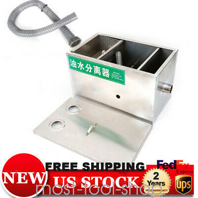 "US Commercial Grease Oil Trap Interceptor Steel 5cm/2"" 6.6L Waste Disposal New"