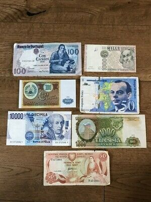 EUROPE x 7 Banknotes (Lot 2) -  Portugal, Italy, Russia, Cyprus and France.