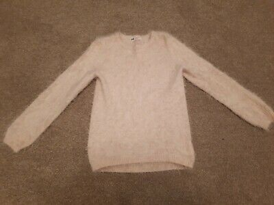 Girls fluffy pale pink jumper - 6-8 years H&M