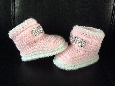 Hand knitted Romany Bling baby girls booties 0-3months