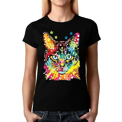 Velocitee Ladies T-Shirt Psychedelic Cat Blue Eyes Kitty Pussy Super Cute A19035