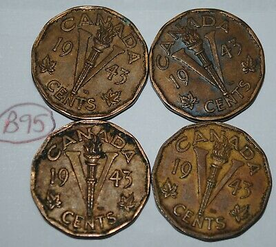 Canada 1943 5 Cents Tombac x 4 George VI Canadian Victory Nickel Lot #B95