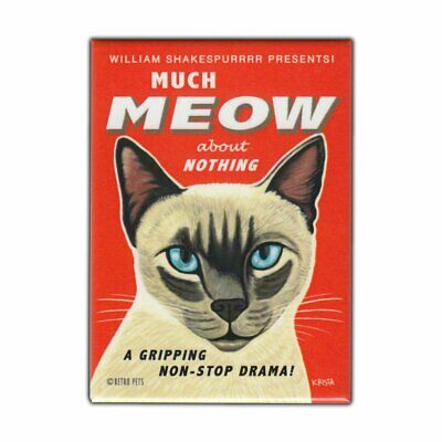 "Retro Pets Magnet, Shakespeare Spoof, Much Meow, Siamese Cat, 2.5"" x 3.5"""
