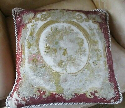 Antique French Abusson 18th /19th Century Silk Thread Tapestry Cushion