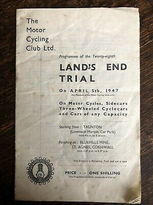Vintage Motorcycle Cycling Club Programme Land's End Trial 1947