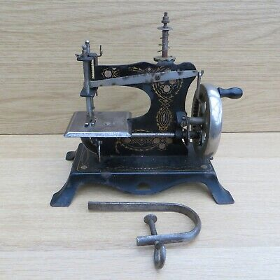 Vintage Antique Metal Toy German Hand Cranked Childs Miniature Sewing Machine