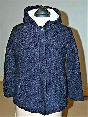 Zara Girls Wool Jacket fur lined with hood navy blue zipped BNWOT Age 11-12