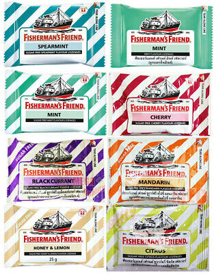 2 packs Fisherman s Friend Spearmint Flavour Lozenges Sugar Free Candy 25g.