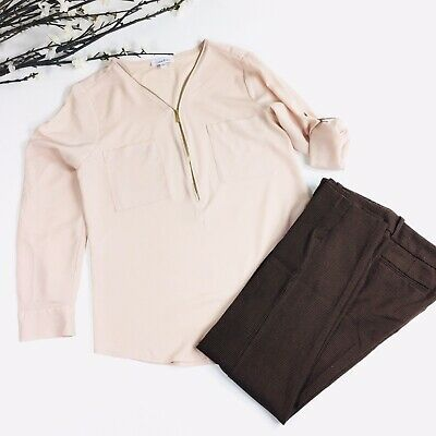 A New Day Women Size 6 Brown Pink Plaid Trouser Ankle Straight Dress Pants 4C