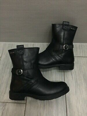 Toddler Girls Black Leather Geox Biker Style Boots, Size 12.5 / Eur 31, Vgc!