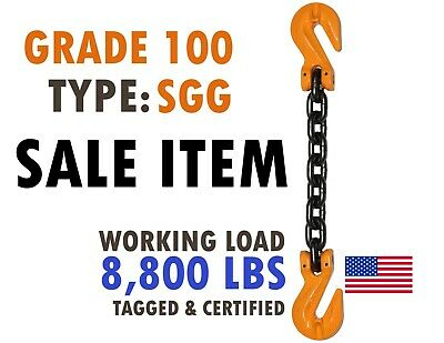 3/8 X 10 Grade 100 Chain Sling with Grab Hooks for Lifting Rigging Tie Down