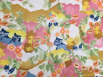 "Vintage Polyester Fabric 1960s 1970s Cats Owls Elephants Floral 65"" x 113"""
