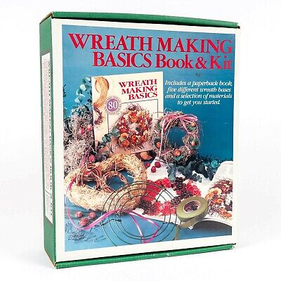 Vintage Wreath Making Basics Book & Kit (Wreath Bases, Moss, ...) New Old Stock