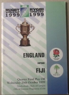 1999 RUGBY WORLD CUP SEMI FINAL PLAY OFF - England v Fiji programme