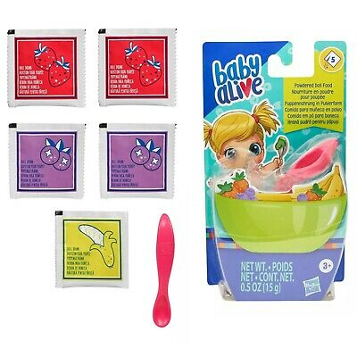HASBRO Baby Alive Powdered Food Packets Strawberry/Grape/Banana with Spoon NEW