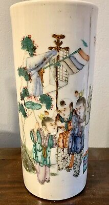 "Antique Chinese Famille Rose Porcelain cylinder vase 11 1/2"" inch 18th century"