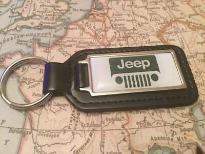 JEEP Black Real Leather Keyring  Printed resin coated WRANGLER RENEGADE COMPASS