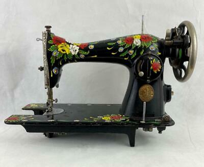 Singer Sewing Machine Red & Yellow Roses & Daisy Bargeware Style Handpainted