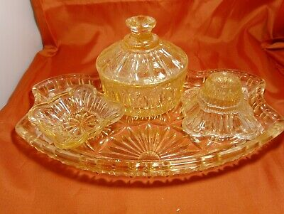 Vintage 4 Piece Peach Pink Glass Dressing Table Set