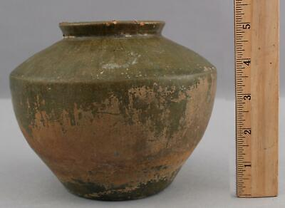 Antique Ancient Han Dynasty Chinese Pottery Pot Jar w/ Lead Green Glaze NR