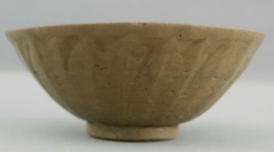 Antique Song to Yuan Dynasty Chinese Celadon Pottery Bowl w/ Lotus Panels NR