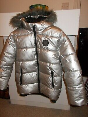Sonneti  Girls  jacket fur  trimmed  hood age 10/12 silver colour padded